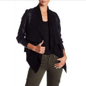 BLANKNYC vegan leather draped jacket